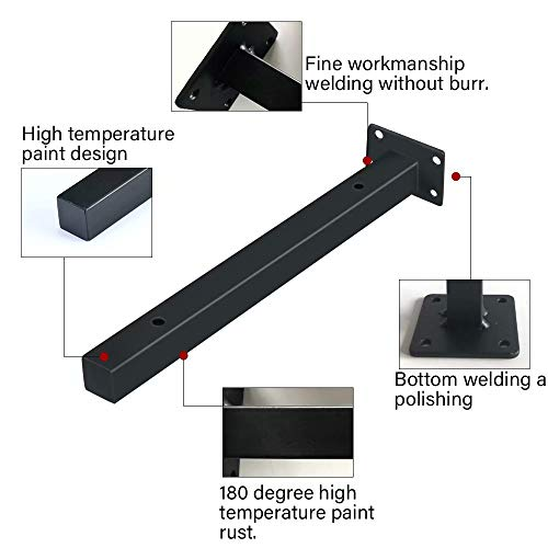 Wall Shelf Brackets 8 Inch Heavy DutyIndustrial Black Brackets For Shelves Black Metal Shelf Bracket Supports For Home Decor2 Pack 0 2
