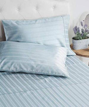 Welhome Full Size 100 Cotton Striped Sateen Sheet Set Of 4 Breathable Soft Deep Pocket Easy Fit Powder Blue 0 300x360
