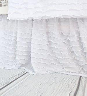White Crib Skirt For Baby Girl Nursery Bedding Dust Ruffle 0 300x333