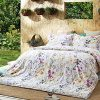 Windflower Bedding Bloomfield Floral Duvet Cover 3pc Set Cotton Botanical Nature Vines Branches Birds Butterflies Multicolored Flowers King White 0 100x100