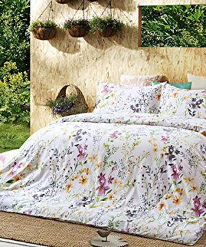 Windflower Bedding Bloomfield Floral Duvet Cover 3pc Set Cotton Botanical Nature Vines Branches Birds Butterflies Multicolored Flowers King White 0 300x360