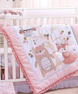 Woodland Friends 3 Piece Forest Animal Theme Baby Crib Bedding Set Rose Pink 0 300x360
