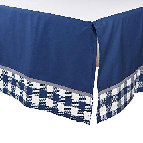 Woodland Trail 4 Piece Forest Animal Theme Patchwork Baby Boy Crib Bedding Set Navy Blue Plaid 0 1