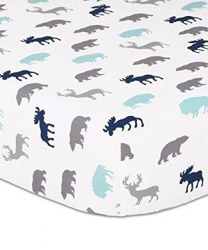 Woodland Trail 4 Piece Forest Animal Theme Patchwork Baby Boy Crib Bedding Set Navy Blue Plaid 0 2 300x360