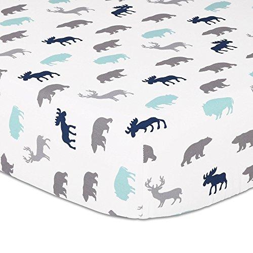 Woodland Trail 4 Piece Forest Animal Theme Patchwork Baby Boy Crib Bedding Set Navy Blue Plaid 0 2