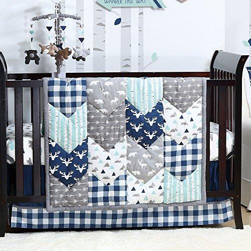 Woodland Trail 4 Piece Forest Animal Theme Patchwork Baby Boy Crib Bedding Set Navy Blue Plaid 0