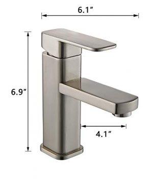 YAJO Modern Single Handle Bathroom Vessel Sink Faucet Brushed Nickel 0 5 300x360