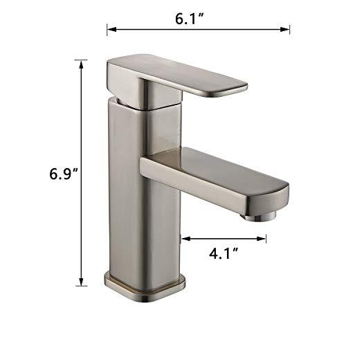 YAJO Modern Single Handle Bathroom Vessel Sink Faucet Brushed Nickel 0 5