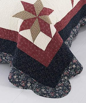 YAYIDAY Bedspread Quilt Set King Size Breathable Cotton Comforter Floral Quilted Coverlet With Shams Christmas Decor Patchwork Print Red Theme Colorful Star 0 0 300x360