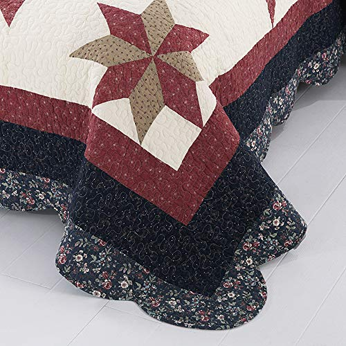 YAYIDAY Bedspread Quilt Set King Size Breathable Cotton Comforter Floral Quilted Coverlet With Shams Christmas Decor Patchwork Print Red Theme Colorful Star 0 0