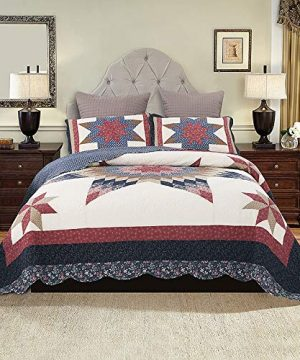 YAYIDAY Bedspread Quilt Set King Size Breathable Cotton Comforter Floral Quilted Coverlet With Shams Christmas Decor Patchwork Print Red Theme Colorful Star 0 300x360