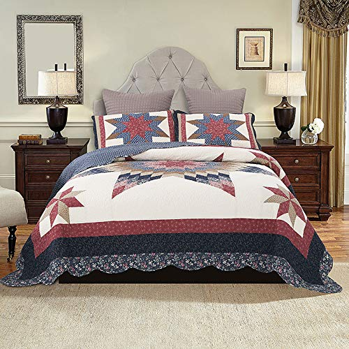 YAYIDAY Bedspread Quilt Set King Size Breathable Cotton Comforter Floral Quilted Coverlet With Shams Christmas Decor Patchwork Print Red Theme Colorful Star 0