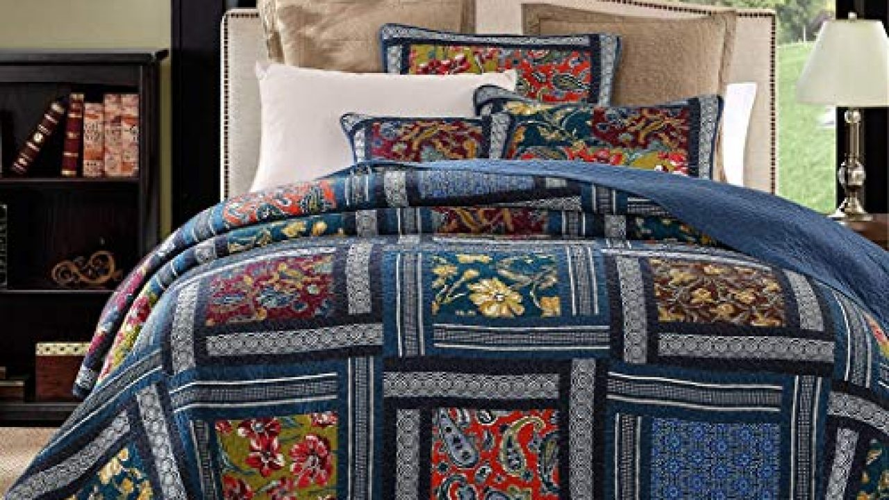 Yayiday Patchwork Cotton Bedspread Quilt Sets King Size Summer Bedding Bohemian Pattern Breathable Floral Bed Cover Farmhouse Goals