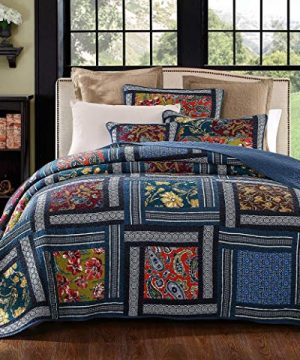 YAYIDAY Patchwork Cotton Bedspread Quilt Sets Queen Size Bohemian Pattern Breathable Reversible Floral Quilted Blanket With Pillow Shams Modern Stitched CoverletNavy Queen 0 300x360