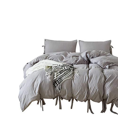 IAsteria Super Soft Duvet Cover Set Lightweight Microfiber Luxury Farmhouse Bedding Set Modern Pattern Design 3 Piece King Grey 0