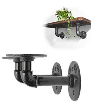 King Do Way 2Pcs Industrial Black Iron Pipe Bracket Wall Mounted Floating Shelf Hanging Wall Hardware Decor For Farmhouse Shelving Hardware Heavy Duty 0 300x360
