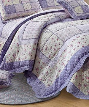 Vctops Queen Size Cotton Floral Quilt Set 3 Piece Countryside Farm House Style Bedspread Purple Flowers Patchwork Reversible Coverlet Bed Cover For Women 0 0 300x360