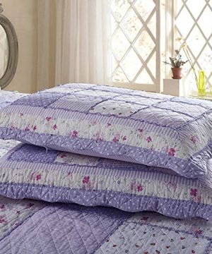 Vctops Queen Size Cotton Floral Quilt Set 3 Piece Countryside Farm House Style Bedspread Purple Flowers Patchwork Reversible Coverlet Bed Cover For Women 0 1 300x360