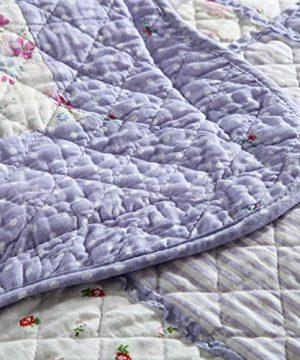 Vctops Queen Size Cotton Floral Quilt Set 3 Piece Countryside Farm House Style Bedspread Purple Flowers Patchwork Reversible Coverlet Bed Cover For Women 0 2 300x360