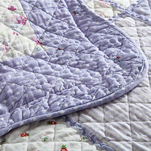Vctops Queen Size Cotton Floral Quilt Set 3 Piece Countryside Farm House Style Bedspread Purple Flowers Patchwork Reversible Coverlet Bed Cover For Women 0 2