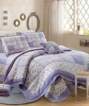 Vctops Queen Size Cotton Floral Quilt Set 3 Piece Countryside Farm House Style Bedspread Purple Flowers Patchwork Reversible Coverlet Bed Cover For Women 0 300x360