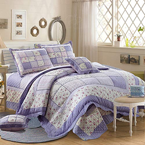 Vctops Queen Size Cotton Floral Quilt Set 3 Piece Countryside Farm House Style Bedspread Purple Flowers Patchwork Reversible Coverlet Bed Cover For Women 0