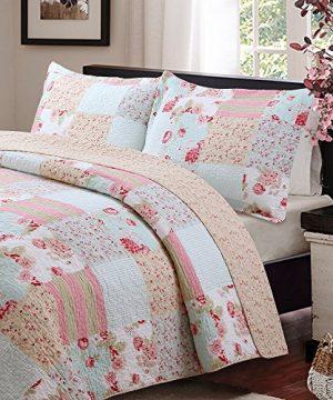 Vivinna Home Textile Cotton Quilt King Size Sets Patchwork Pink Bedspread Summer Blanket 0 0 300x360