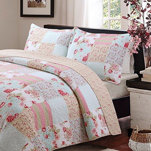 Vivinna Home Textile Cotton Quilt King Size Sets Patchwork Pink Bedspread Summer Blanket 0 0
