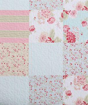 Vivinna Home Textile Cotton Quilt King Size Sets Patchwork Pink Bedspread Summer Blanket 0 1 300x360