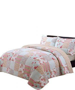 Vivinna Home Textile Cotton Quilt King Size Sets Patchwork Pink Bedspread Summer Blanket 0 300x360