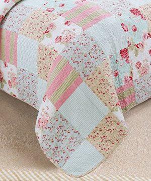 Vivinna Home Textile Cotton Quilt King Size Sets Patchwork Pink Bedspread Summer Blanket 0 4 300x360