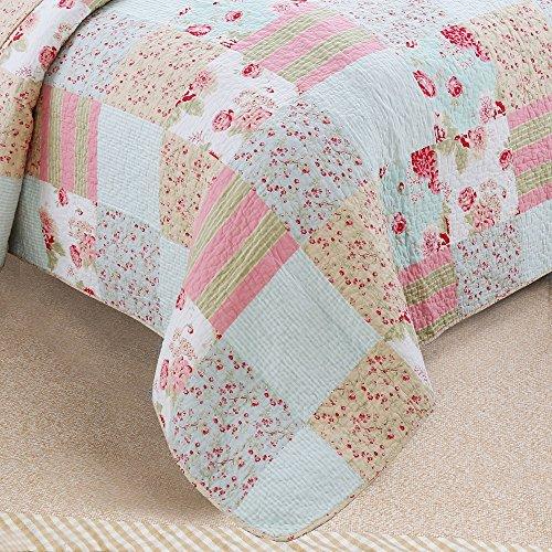 Vivinna Home Textile Cotton Quilt King Size Sets Patchwork Pink Bedspread Summer Blanket 0 4