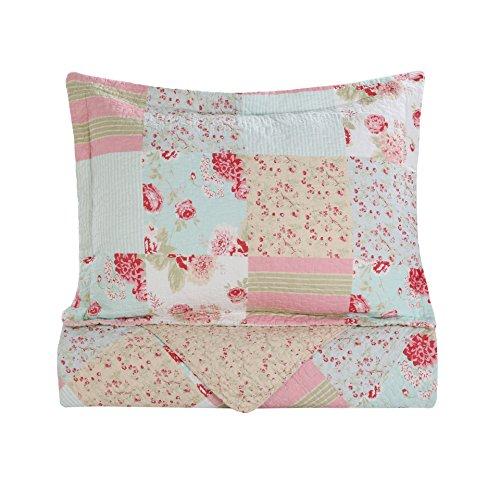 Vivinna Home Textile Cotton Quilt King Size Sets Patchwork Pink Bedspread Summer Blanket 0 5