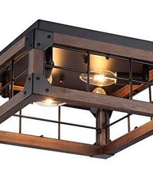 13 Inch Square Wood Wire Cage Antique Walnut Bronze Flush Mount Farmhouse Industrial Style Ceiling Light Fixture 4 Lights Edison E26 0 300x360