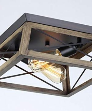 2 Light X 13 Inch Square Metal Antique Bronze Two Light Flush Mount Wood Look Open Frame Barn Farmhouse Style 0 300x360