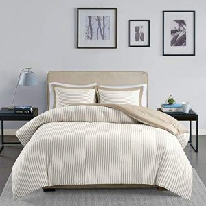 ULTRA SOFT LUXURIOUS CHIC CASUAL BROWN TAN BEIGE TAUPE STITCH COMFORTER SET NEW!