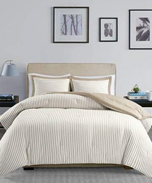 2 Piece Cottage Style Light Tan Comforter Twin Charming Striped Pattern Tack Stitched Ultra Soft Alternative Down Comforter Set Solid Color Reverse Country Chic Vibe Luxury Decor Farmhouse Bedding Set 0 300x360