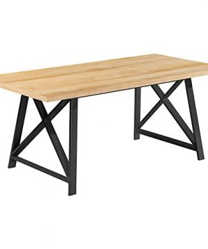 2xhome Light Wood Modern Wood Table Grey Steel Metal Legs Frame Dining Table 71 Inches 0 300x360