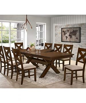 9 Piece Solid Wood Dining Set With Table And 8 Chairs Brown Modern Contemporary Rectangle Distressed Butterfly Leaf 0 0 300x360