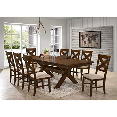 9 Piece Solid Wood Dining Set With Table And 8 Chairs Brown Modern Contemporary Rectangle Distressed Butterfly Leaf 0 0