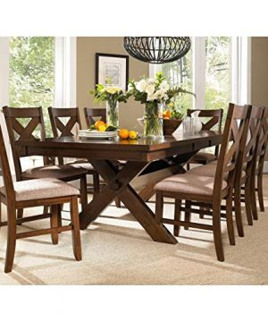 9 Piece Solid Wood Dining Set With Table And 8 Chairs Brown Modern Contemporary Rectangle Distressed Butterfly Leaf 0 300x360