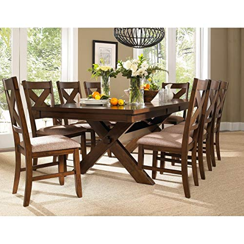 9 Piece Solid Wood Dining Set With Table And 8 Chairs Brown Modern Contemporary Rectangle Distressed Butterfly Leaf 0