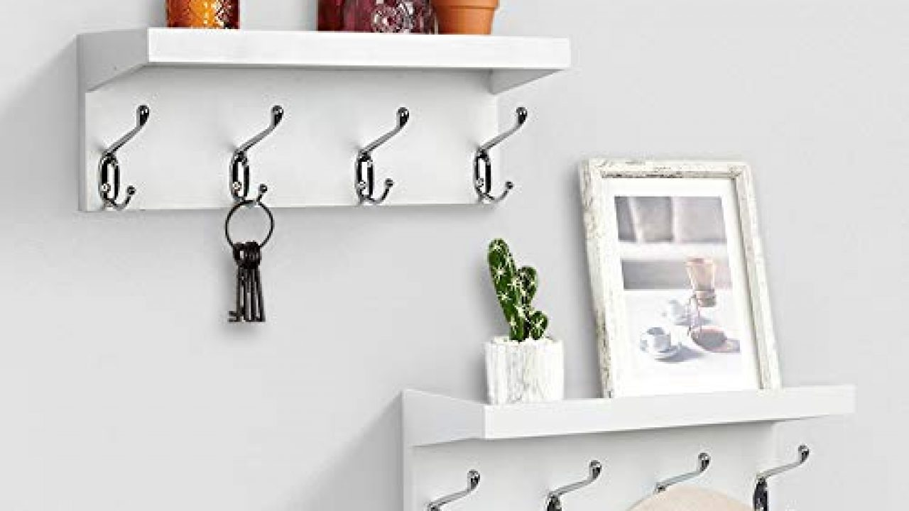 ahdecor entryway floating wall mounted coat rack storage hanging shelf with 4 durable hangers white