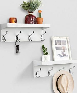 AHDECOR Entryway Floating Wall Mounted Coat Rack Storage Hanging Shelf With 4 Durable Hangers White 0 300x360
