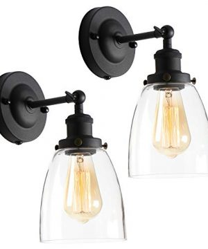 AILIN Premium Vintage Industrial Wall Sconces Lighting Fixtures Retro Matte Black Vanity Glass Wall Lamp Upgrade Edison Wall Lamp 2 Pack 0 300x360