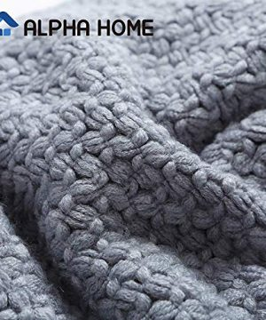 ALPHA HOME Knit Throw Blanket Warm Cozy For Couch Sofa Bed Beach Travel 50 X 60 Blue Gray 0 0 300x360