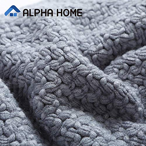 ALPHA HOME Knit Throw Blanket Warm Cozy For Couch Sofa Bed Beach Travel 50 X 60 Blue Gray 0 0