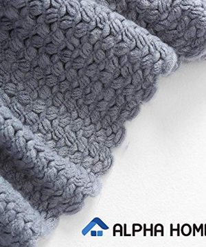 ALPHA HOME Knit Throw Blanket Warm Cozy For Couch Sofa Bed Beach Travel 50 X 60 Blue Gray 0 1 300x360