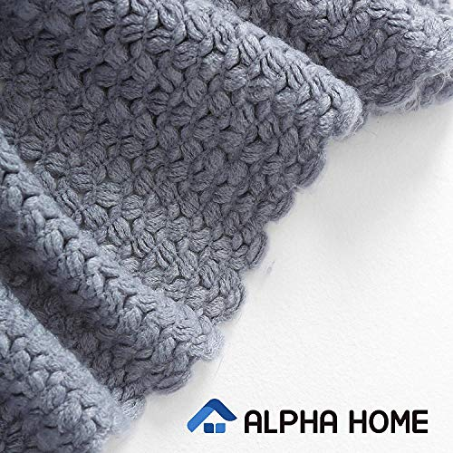 ALPHA HOME Knit Throw Blanket Warm Cozy For Couch Sofa Bed Beach Travel 50 X 60 Blue Gray 0 1