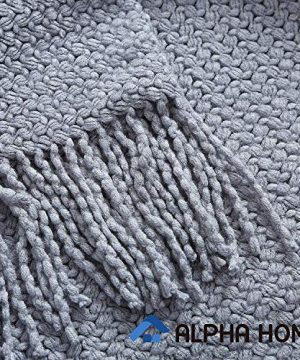 ALPHA HOME Knit Throw Blanket Warm Cozy For Couch Sofa Bed Beach Travel 50 X 60 Blue Gray 0 2 300x360